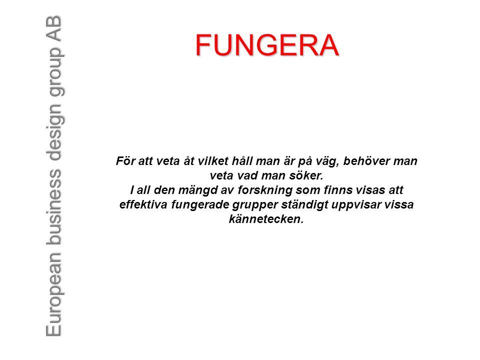 European business design group AB FUNGERA För att veta åt vilket håll man är på väg, behöver man veta vad man söker. I all den mängd av forskning som