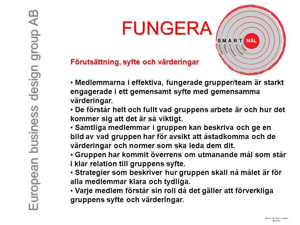 European business design group AB FUNGERA Förutsättning, syfte och värderingar Medlemmarna i effektiva, fungerade grupper/team är starkt engagerade i