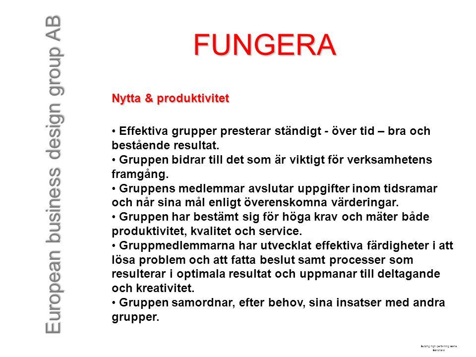 European business design group AB FUNGERA Nytta & produktivitet Effektiva grupper presterar ständigt - över tid – bra och bestående resultat. Gruppen