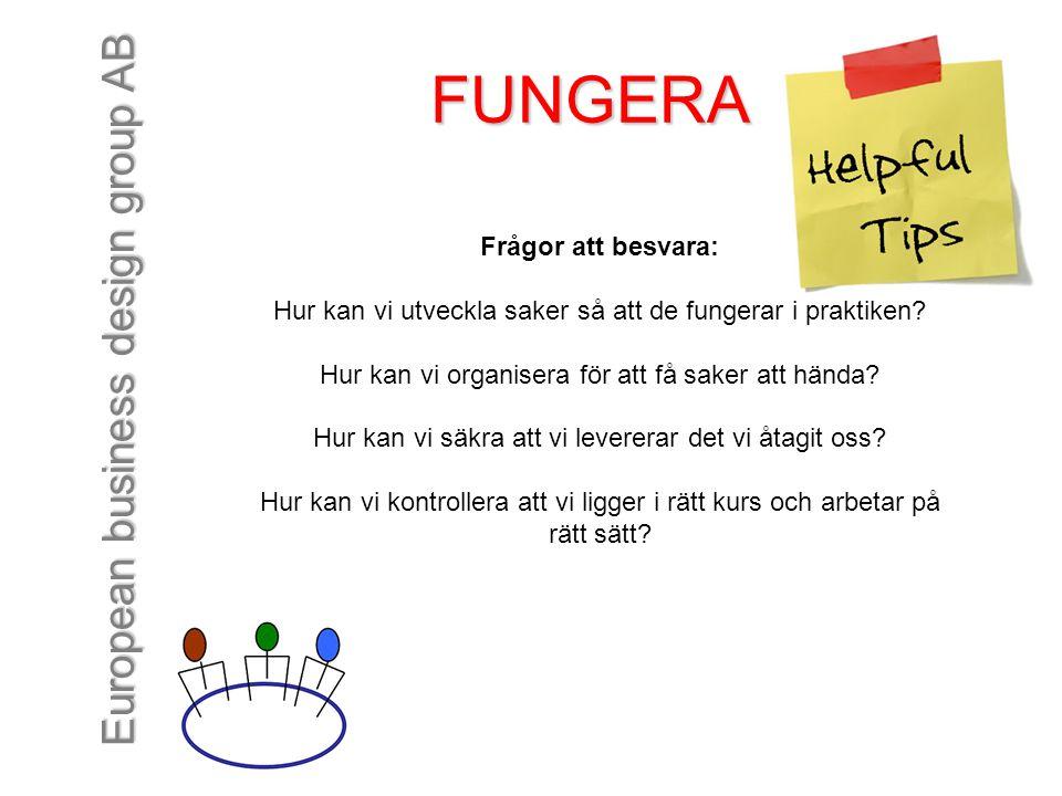 European business design group AB FUNGERA Frågor att besvara: Hur kan vi utveckla saker så att de fungerar i praktiken? Hur kan vi organisera för att