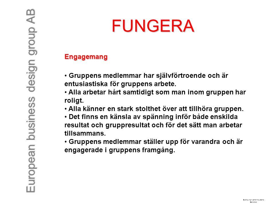 European business design group AB FUNGERA Engagemang Gruppens medlemmar har självförtroende och är entusiastiska för gruppens arbete. Alla arbetar hår