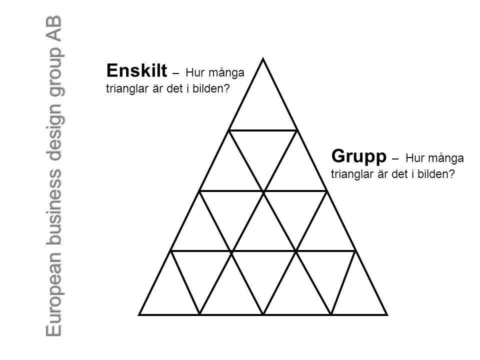European business design group AB Enskilt – Hur många trianglar är det i bilden? Grupp – Hur många trianglar är det i bilden?