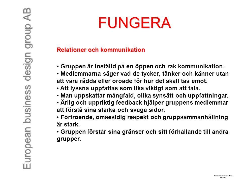 European business design group AB FUNGERA Relationer och kommunikation Gruppen är inställd på en öppen och rak kommunikation. Medlemmarna säger vad de