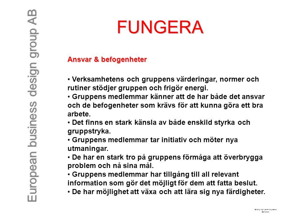 European business design group AB FUNGERA Ansvar & befogenheter Verksamhetens och gruppens värderingar, normer och rutiner stödjer gruppen och frigör