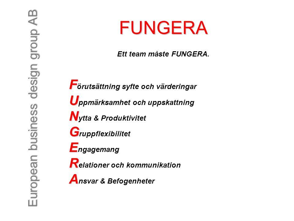European business design group AB FUNGERA Ett team måste FUNGERA. F F örutsättning syfte och värderingar U U ppmärksamhet och uppskattning N N ytta &