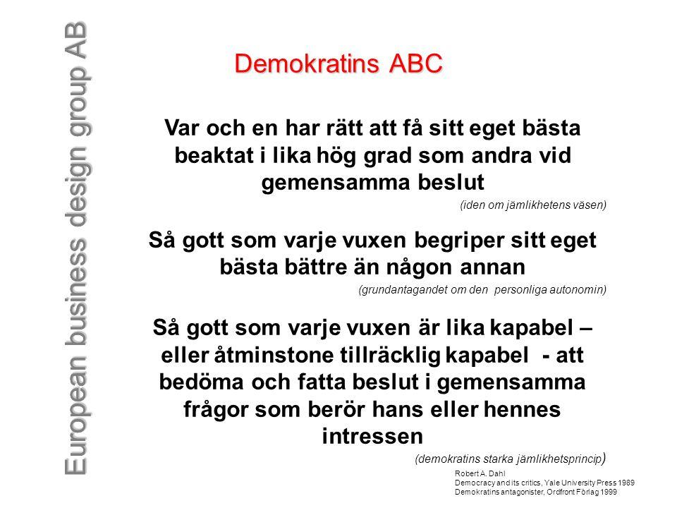 European business design group AB Demokratins ABC Var och en har rätt att få sitt eget bästa beaktat i lika hög grad som andra vid gemensamma beslut (