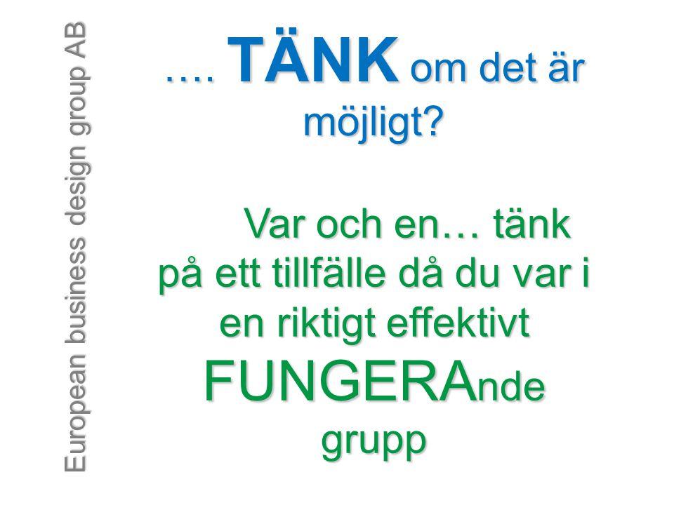 European business design group AB …. TÄNK om det är möjligt? Var och en… tänk på ett tillfälle då du var i en riktigt effektivt FUNGERA nde grupp