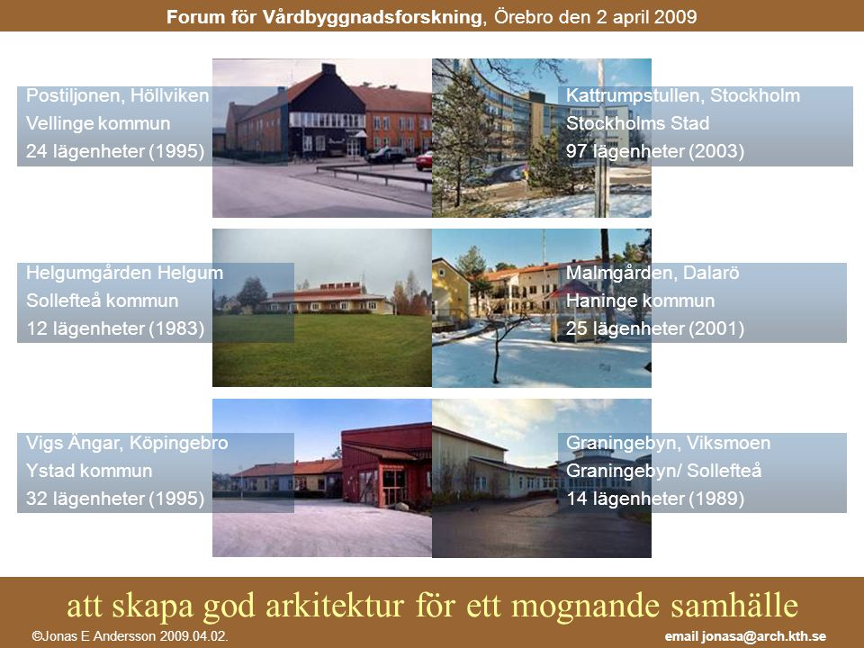 att skapa god arkitektur för ett mognande samhälle email jonasa@arch.kth.se©Jonas E Andersson 2009.04.02. Forum för Vårdbyggnadsforskning, Örebro den