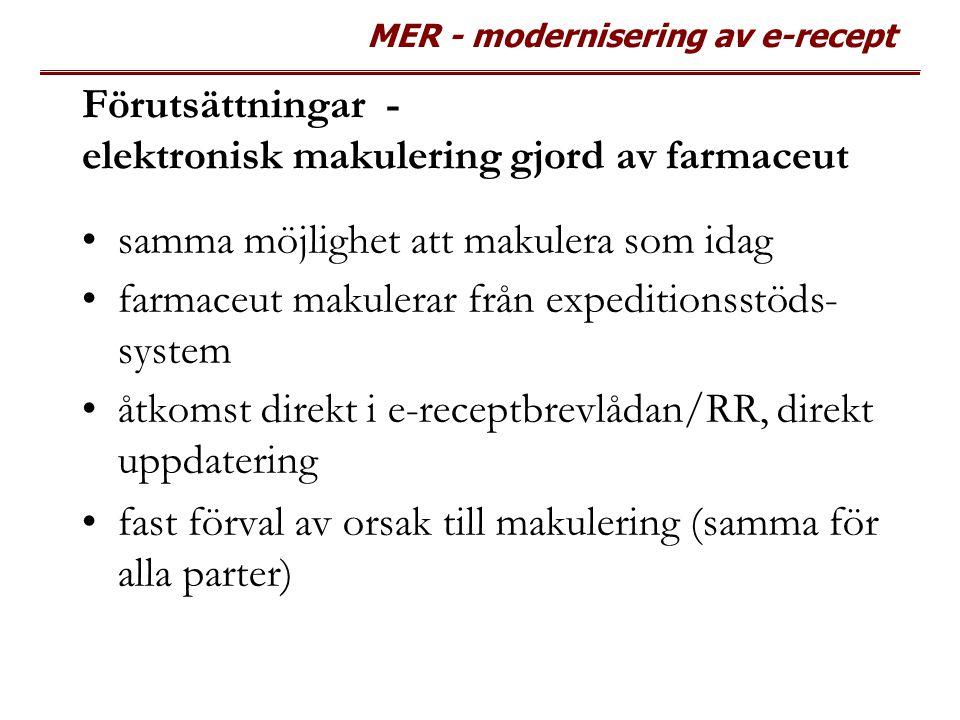 MER - modernisering av e-recept Förutsättningar - elektronisk makulering gjord av farmaceut samma möjlighet att makulera som idag farmaceut makulerar