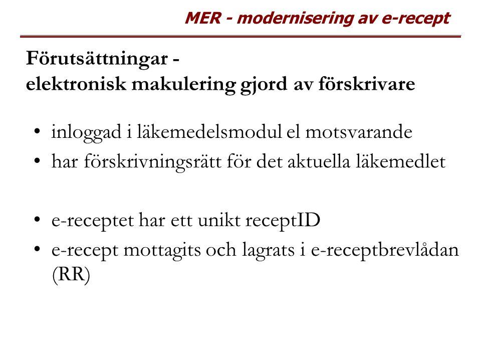 MER - modernisering av e-recept Förutsättningar - elektronisk makulering gjord av förskrivare inloggad i läkemedelsmodul el motsvarande har förskrivni