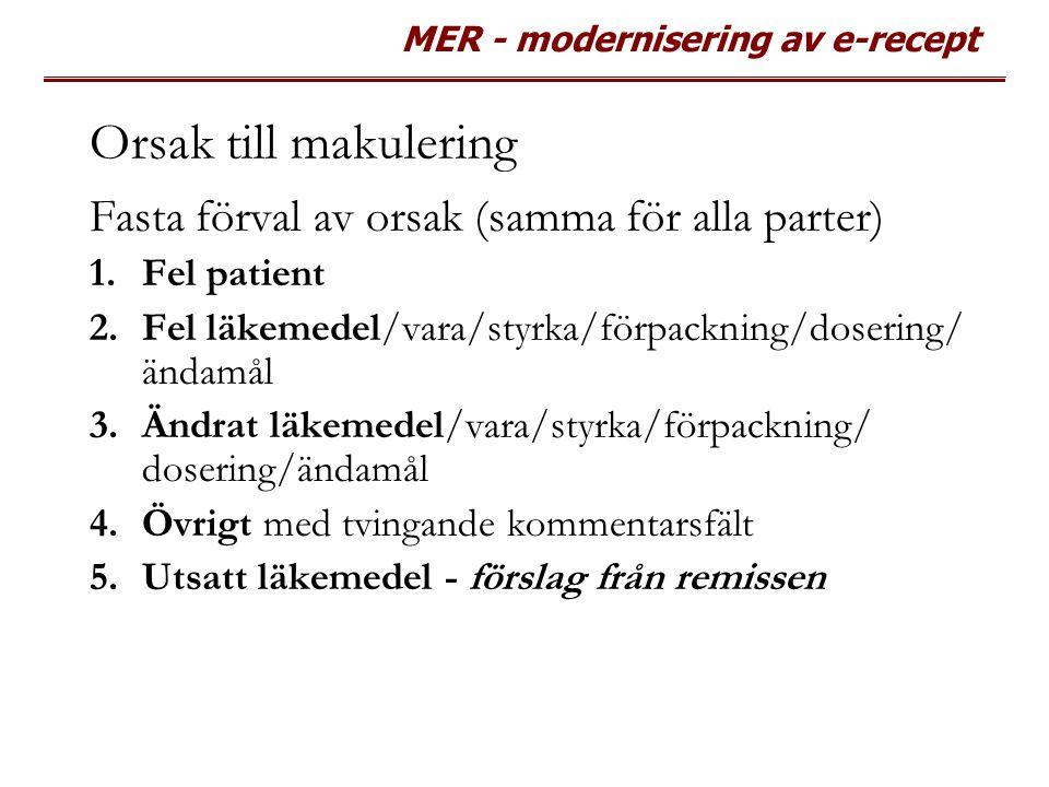 MER - modernisering av e-recept Orsak till makulering Fasta förval av orsak (samma för alla parter) 1.Fel patient 2.Fel läkemedel/vara/styrka/förpackn