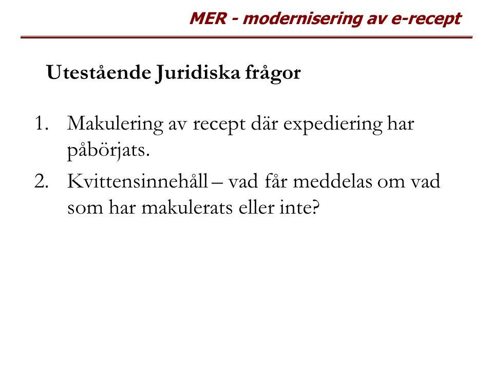 MER - modernisering av e-recept Utestående Juridiska frågor 1.Makulering av recept där expediering har påbörjats. 2.Kvittensinnehåll – vad får meddela