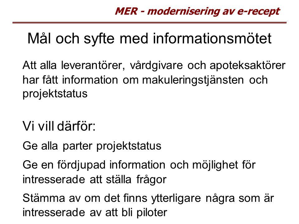MER - modernisering av e-recept Mål och syfte med informationsmötet Att alla leverantörer, vårdgivare och apoteksaktörer har fått information om makul