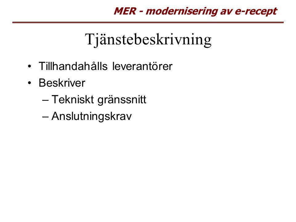MER - modernisering av e-recept Tjänstebeskrivning Tillhandahålls leverantörer Beskriver –Tekniskt gränssnitt –Anslutningskrav