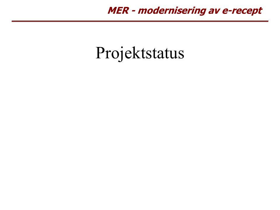 MER - modernisering av e-recept Projektstatus