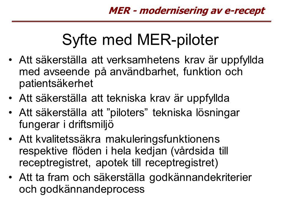 MER - modernisering av e-recept Syfte med MER-piloter Att säkerställa att verksamhetens krav är uppfyllda med avseende på användbarhet, funktion och p