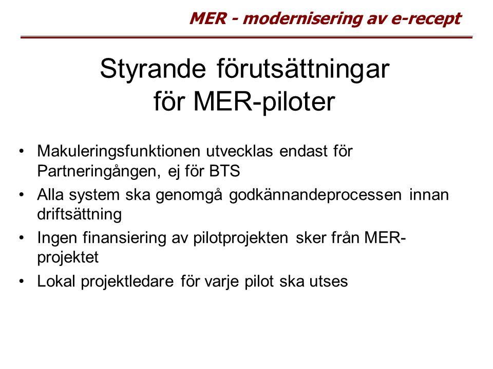MER - modernisering av e-recept Styrande förutsättningar för MER-piloter Makuleringsfunktionen utvecklas endast för Partneringången, ej för BTS Alla s
