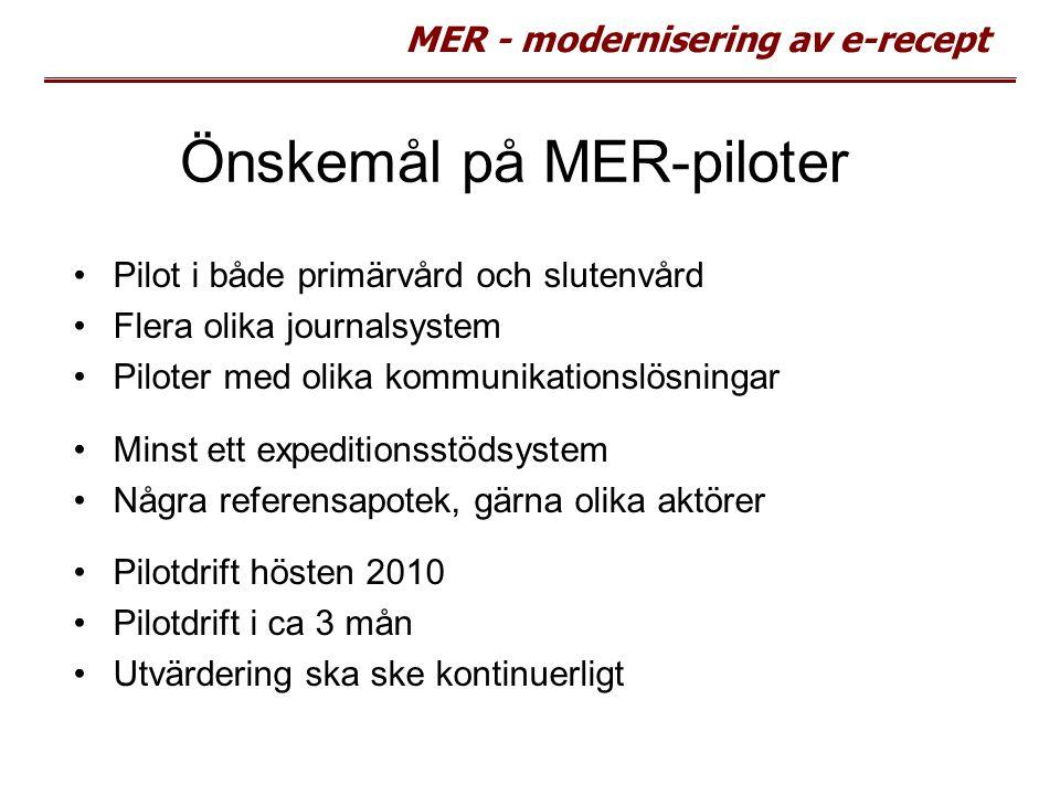 MER - modernisering av e-recept Önskemål på MER-piloter Pilot i både primärvård och slutenvård Flera olika journalsystem Piloter med olika kommunikati