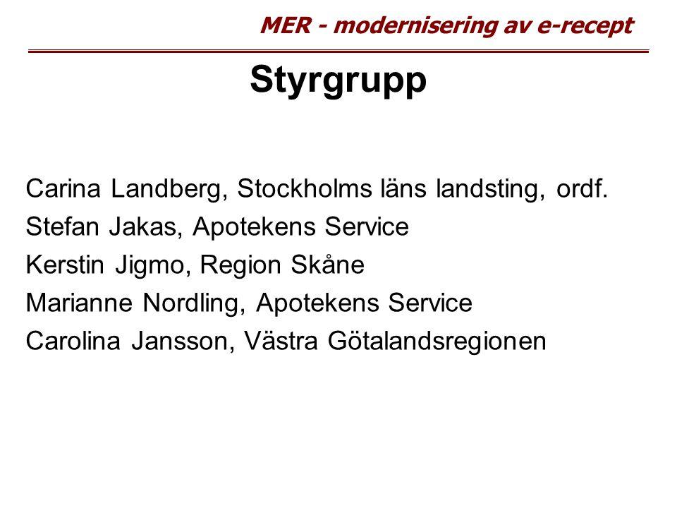 MER - modernisering av e-recept Styrgrupp Carina Landberg, Stockholms läns landsting, ordf. Stefan Jakas, Apotekens Service Kerstin Jigmo, Region Skån