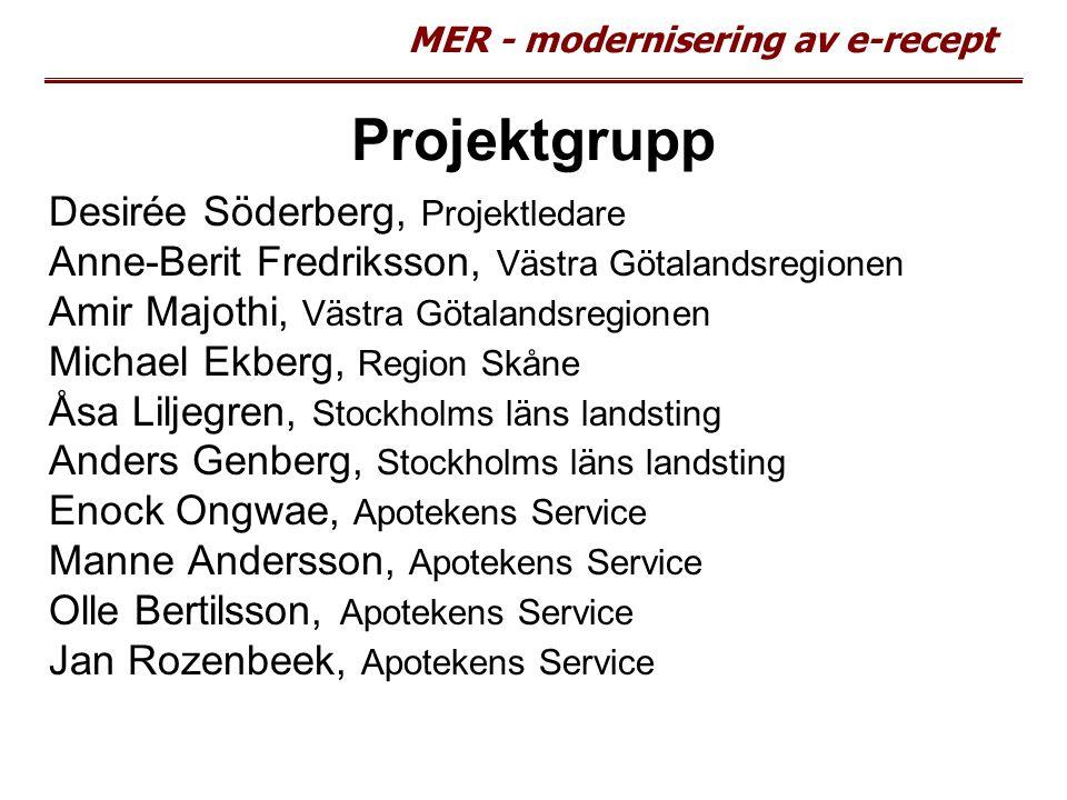 MER - modernisering av e-recept Projektgrupp Desirée Söderberg, Projektledare Anne-Berit Fredriksson, Västra Götalandsregionen Amir Majothi, Västra Gö