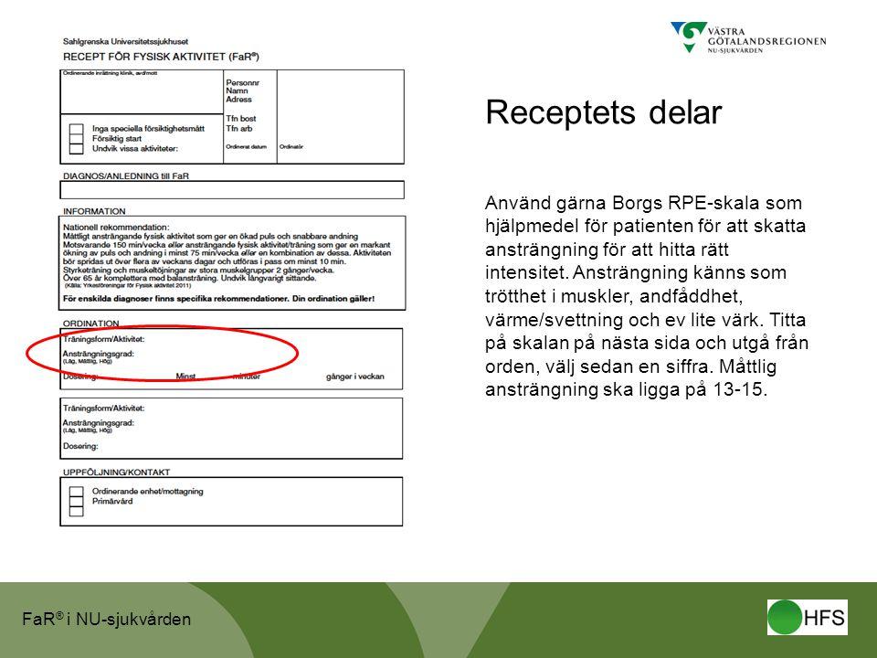 FaR ® i NU-sjukvården Receptets delar Använd gärna Borgs RPE-skala som hjälpmedel för patienten för att skatta ansträngning för att hitta rätt intensitet.