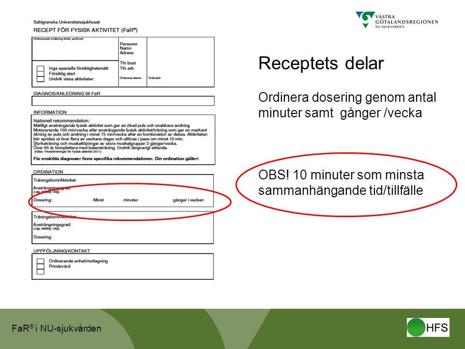 FaR ® i NU-sjukvården Receptets delar Ordinera dosering genom antal minuter samt gånger /vecka OBS.