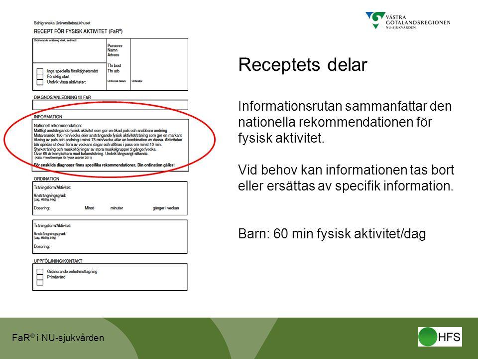 FaR ® i NU-sjukvården Receptets delar Informationsrutan sammanfattar den nationella rekommendationen för fysisk aktivitet.