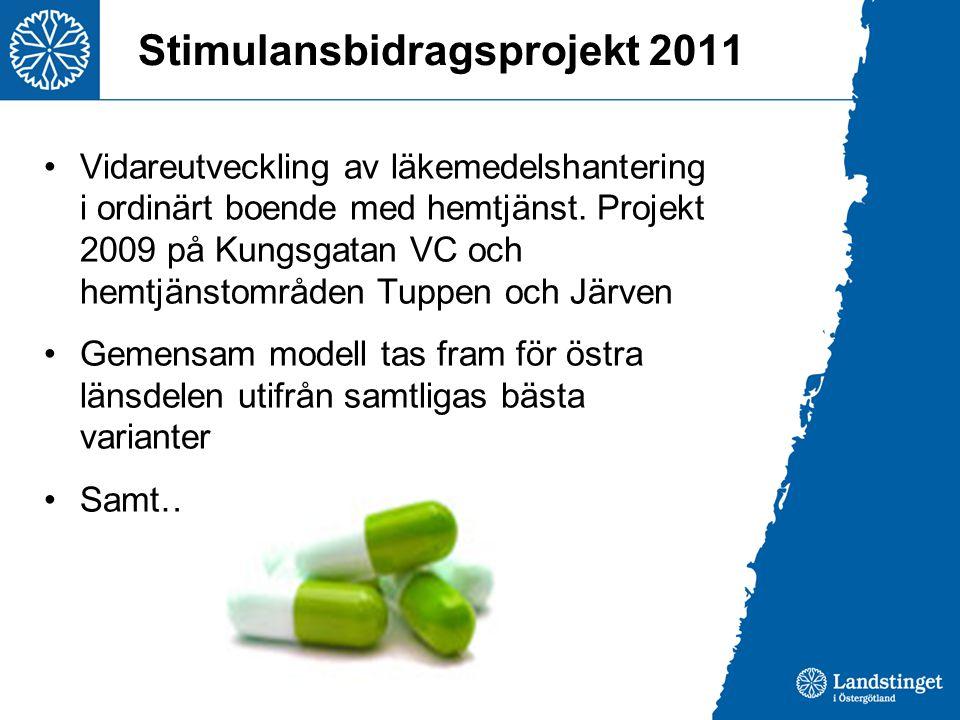 Stimulansbidragsprojekt 2011 Vidareutveckling av läkemedelshantering i ordinärt boende med hemtjänst. Projekt 2009 på Kungsgatan VC och hemtjänstområd