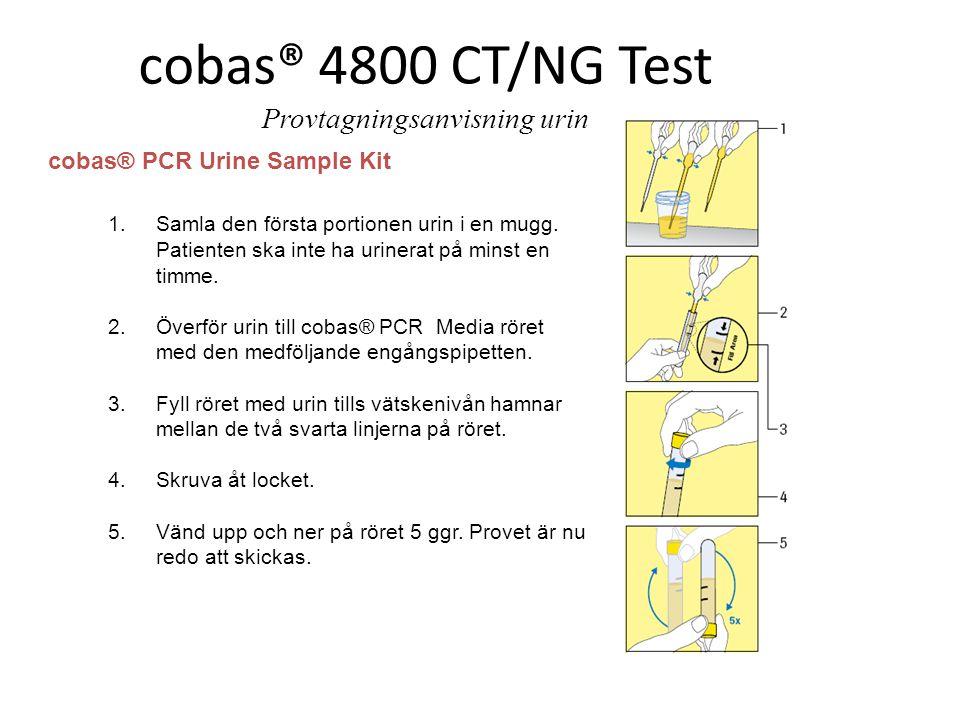 cobas® PCR Urine Sample Kit 1.Samla den första portionen urin i en mugg. Patienten ska inte ha urinerat på minst en timme. 2.Överför urin till cobas®