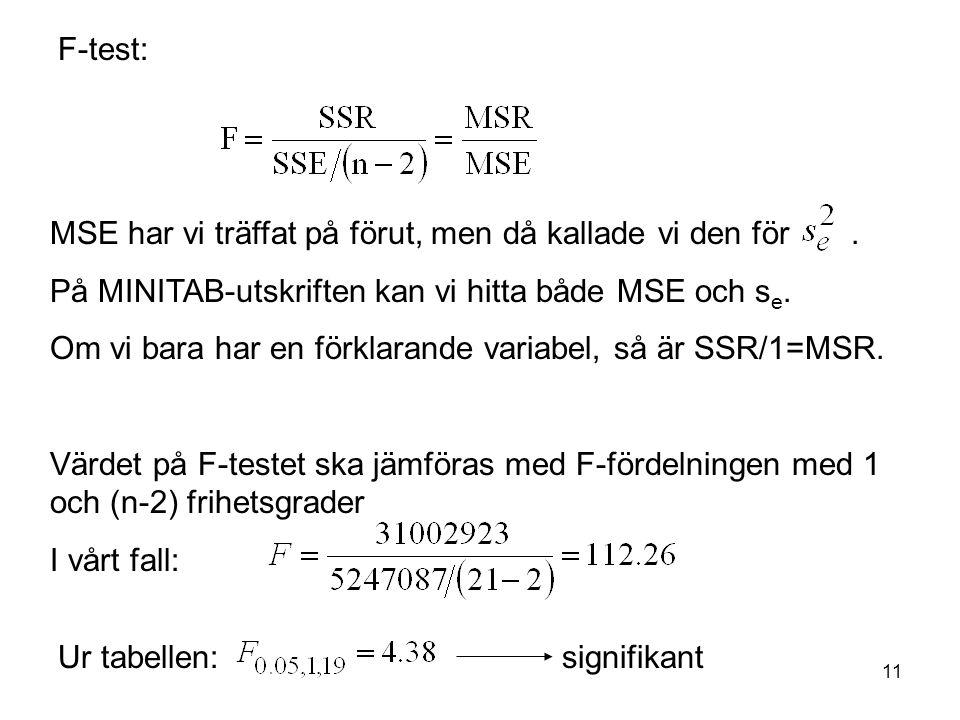 11 F-test: MSE har vi träffat på förut, men då kallade vi den för.