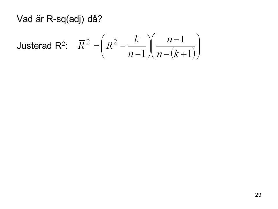 29 Vad är R-sq(adj) då? Justerad R 2 :
