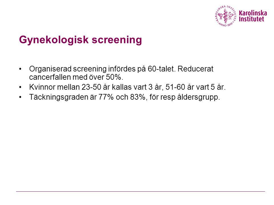 Gynekologisk screening Incidens Mortailitet