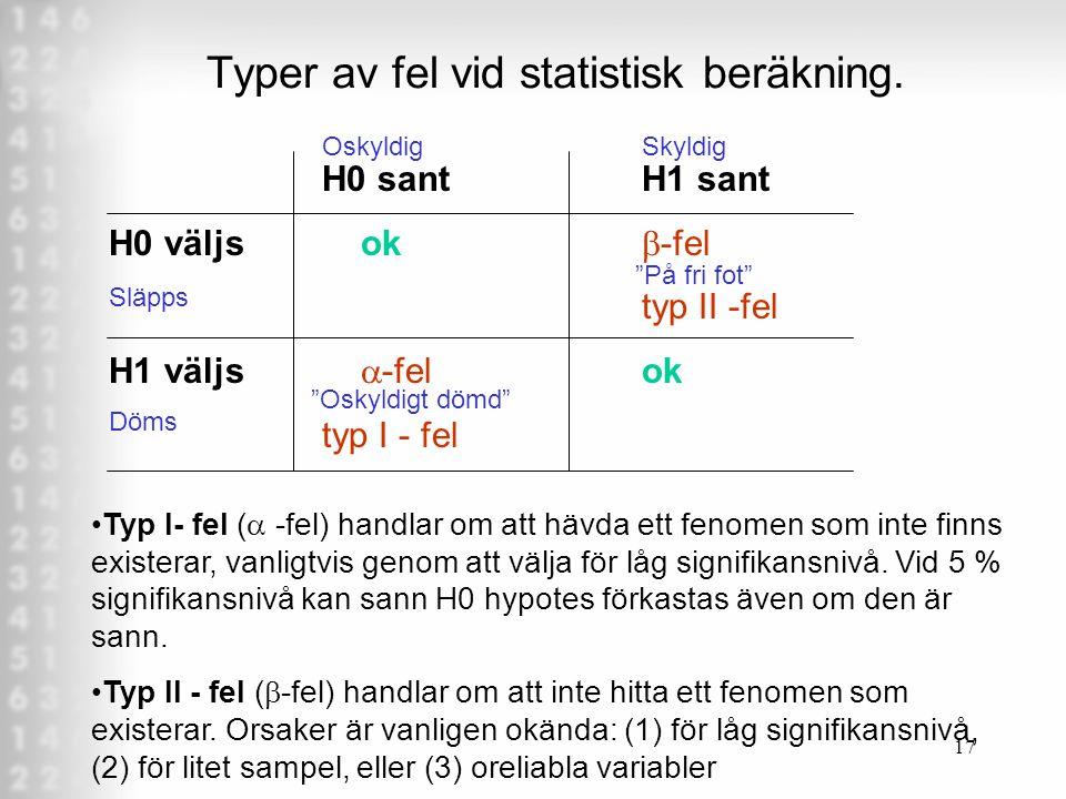 17 Typer av fel vid statistisk beräkning.