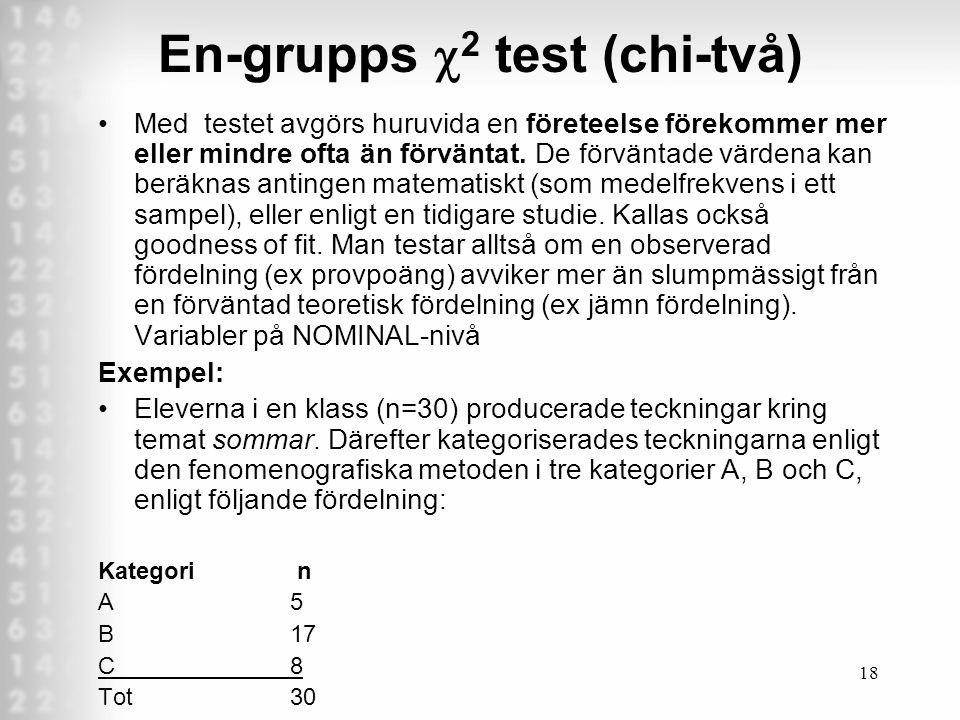 18 En-grupps  2 test (chi-två) Med testet avgörs huruvida en företeelse förekommer mer eller mindre ofta än förväntat.