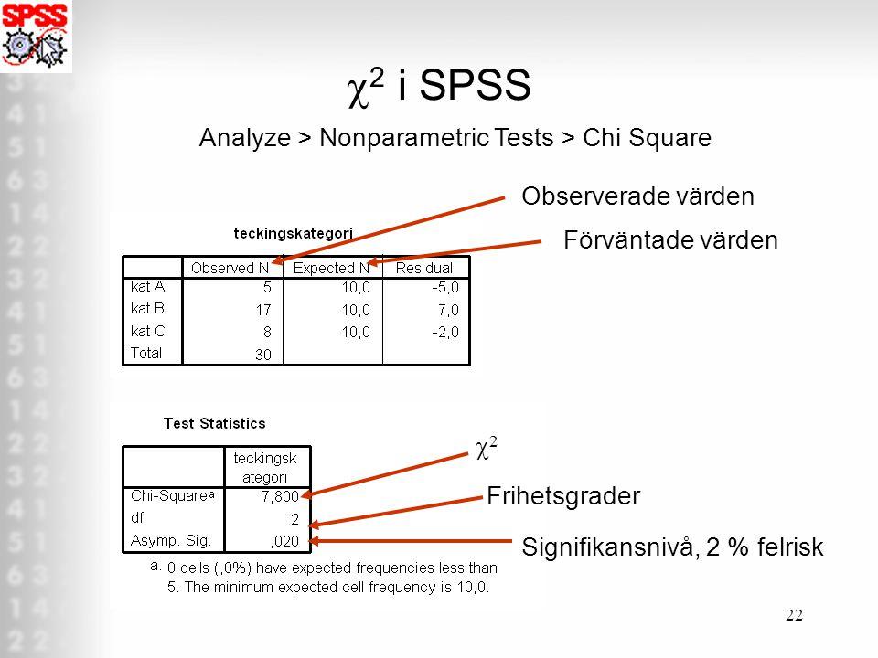 22  2 i SPSS Analyze > Nonparametric Tests > Chi Square Observerade värden Förväntade värden 22 Frihetsgrader Signifikansnivå, 2 % felrisk