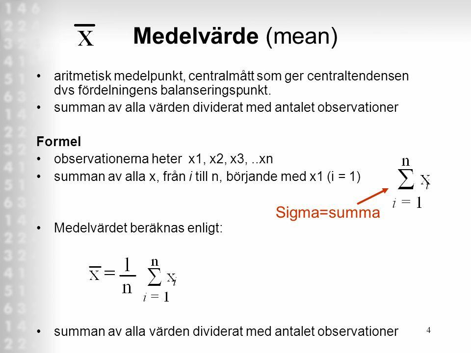 4 Medelvärde (mean) aritmetisk medelpunkt, centralmått som ger centraltendensen dvs fördelningens balanseringspunkt.