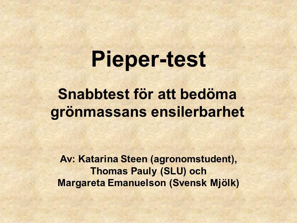 Pieper-test Snabbtest för att bedöma grönmassans ensilerbarhet Av: Katarina Steen (agronomstudent), Thomas Pauly (SLU) och Margareta Emanuelson (Svens