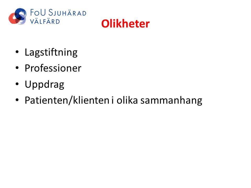 Olikheter Lagstiftning Professioner Uppdrag Patienten/klienten i olika sammanhang