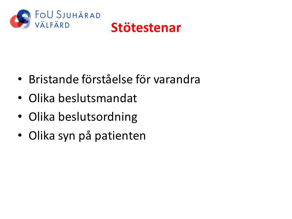 Stötestenar Bristande förståelse för varandra Olika beslutsmandat Olika beslutsordning Olika syn på patienten