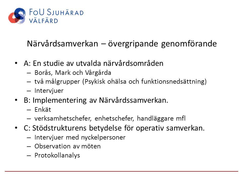Närvårdsamverkan – övergripande genomförande A: En studie av utvalda närvårdsområden – Borås, Mark och Vårgårda – två målgrupper (Psykisk ohälsa och f