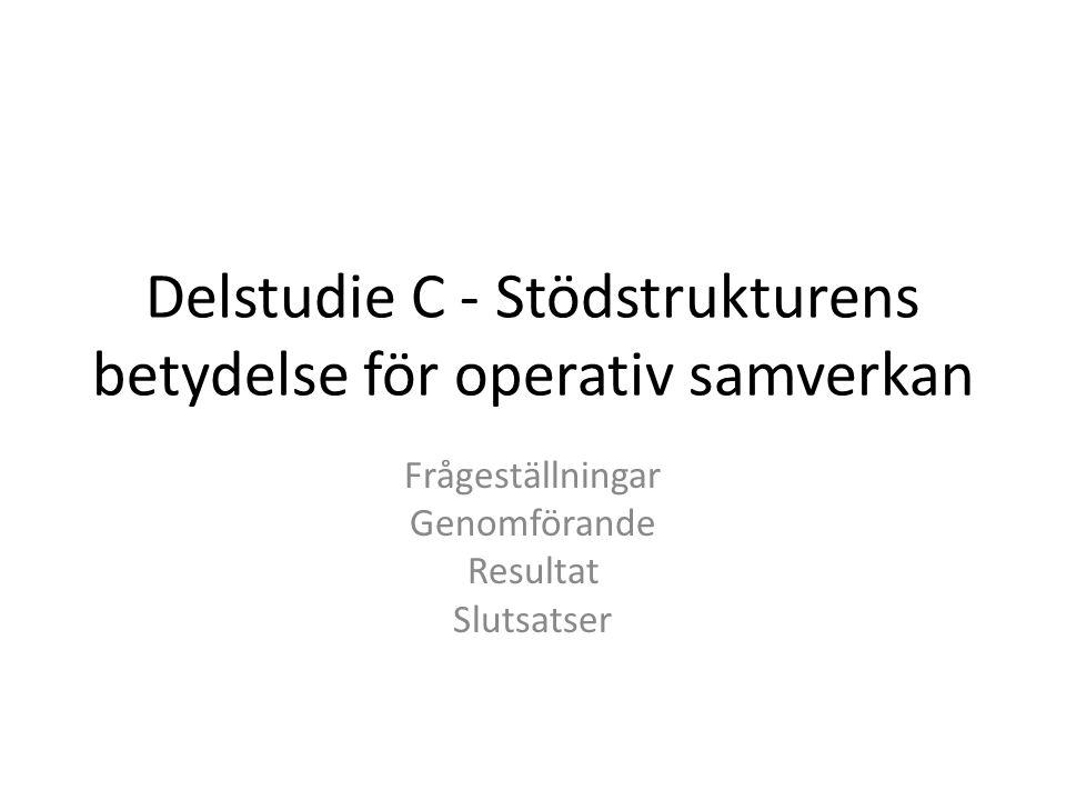 Delstudie C - Stödstrukturens betydelse för operativ samverkan Frågeställningar Genomförande Resultat Slutsatser