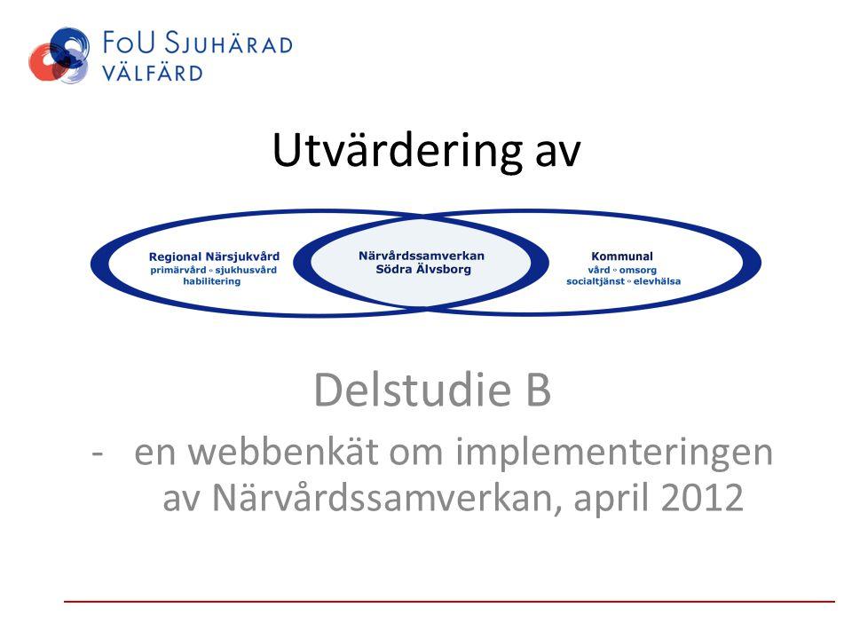 Utvärdering av Delstudie B -en webbenkät om implementeringen av Närvårdssamverkan, april 2012