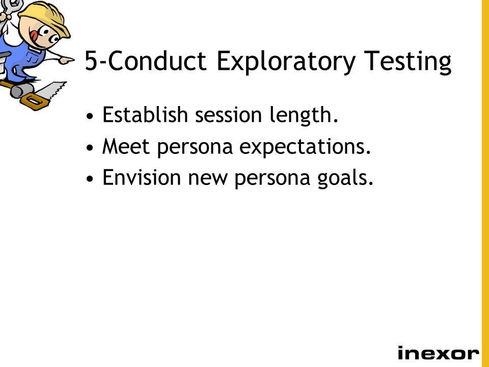5-Conduct Exploratory Testing Establish session length. Meet persona expectations. Envision new persona goals.
