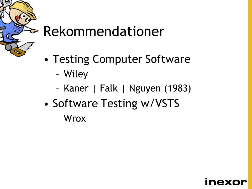 Rekommendationer Testing Computer Software –Wiley –Kaner | Falk | Nguyen (1983) Software Testing w/VSTS –Wrox