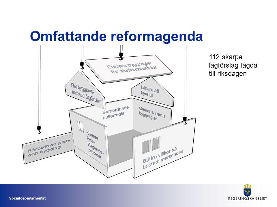 Socialdepartementet Omfattande reformagenda 112 skarpa lagförslag lagda till riksdagen