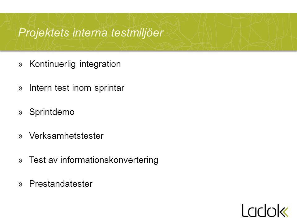 Projektets interna testmiljöer »Kontinuerlig integration »Intern test inom sprintar »Sprintdemo »Verksamhetstester »Test av informationskonvertering »
