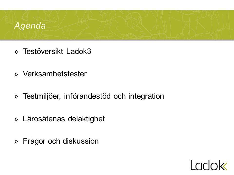 Agenda »Testöversikt Ladok3 »Verksamhetstester »Testmiljöer, införandestöd och integration »Lärosätenas delaktighet »Frågor och diskussion