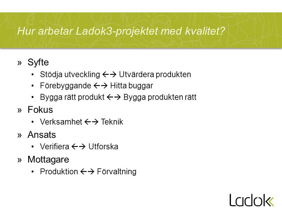 Hur arbetar Ladok3-projektet med kvalitet? »Syfte Stödja utveckling  Utvärdera produkten Förebyggande  Hitta buggar Bygga rätt produkt  Bygga pr