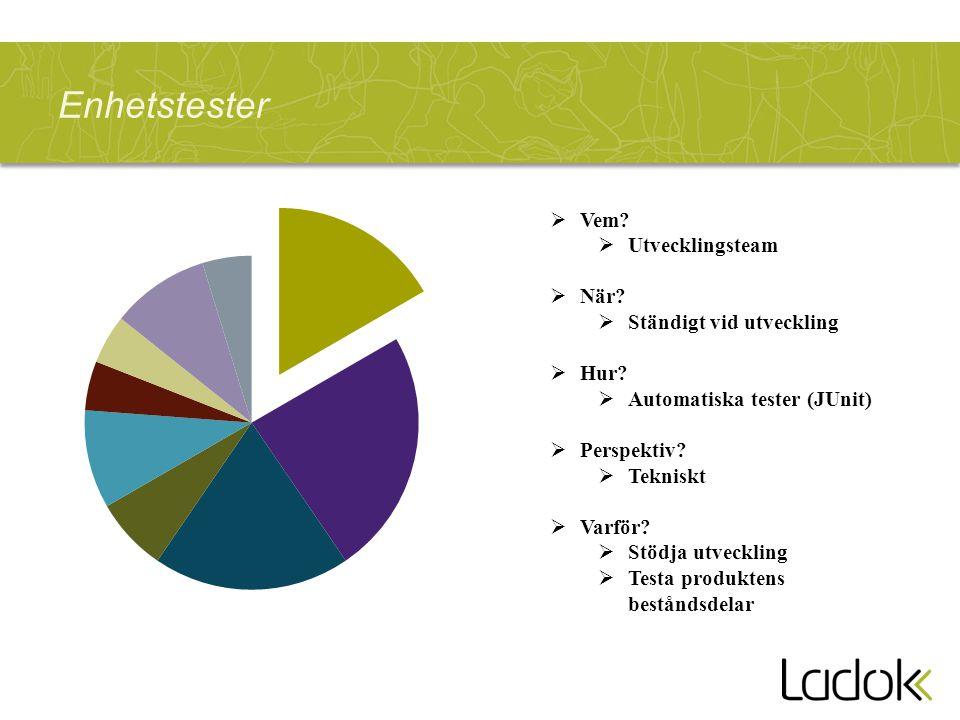 Leveranstester  Vem. Utvecklingsteam (CM/Sysadmin/DBA)  När.
