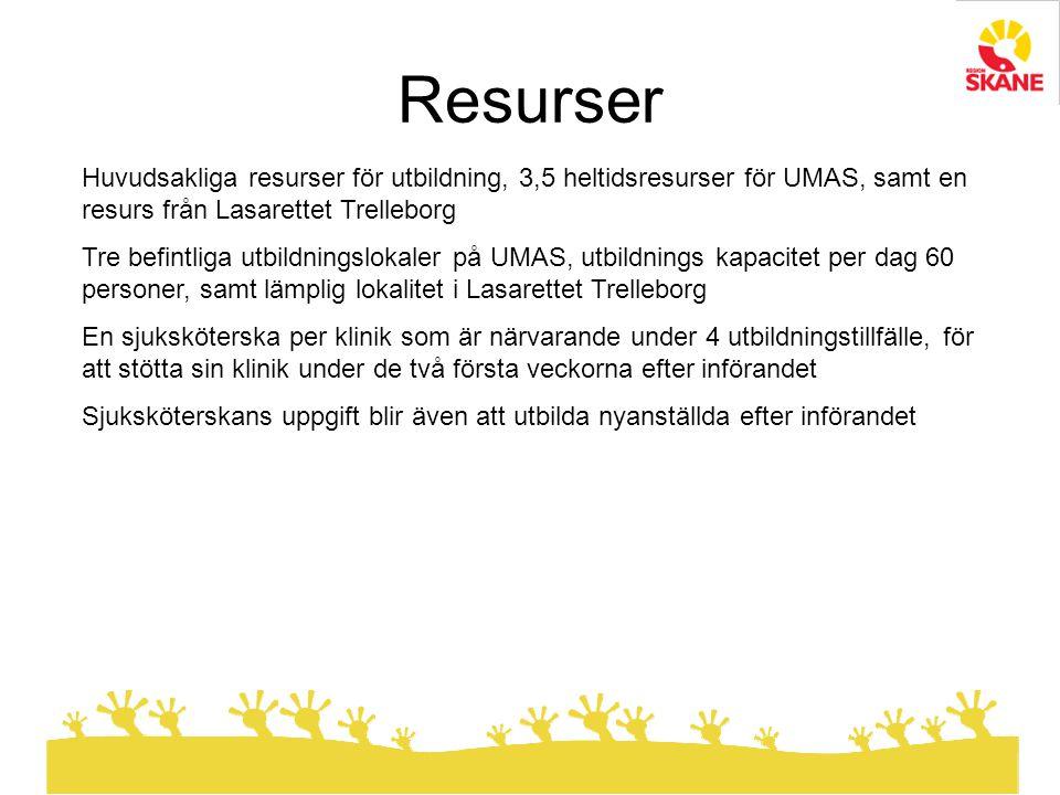 Huvudsakliga resurser för utbildning, 3,5 heltidsresurser för UMAS, samt en resurs från Lasarettet Trelleborg Tre befintliga utbildningslokaler på UMAS, utbildnings kapacitet per dag 60 personer, samt lämplig lokalitet i Lasarettet Trelleborg En sjuksköterska per klinik som är närvarande under 4 utbildningstillfälle, för att stötta sin klinik under de två första veckorna efter införandet Sjuksköterskans uppgift blir även att utbilda nyanställda efter införandet Resurser